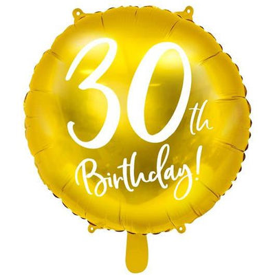 Party Deco - 30th Birthday Gold Foil Balloon - FB24M-30-019- The Original Party Bag Company