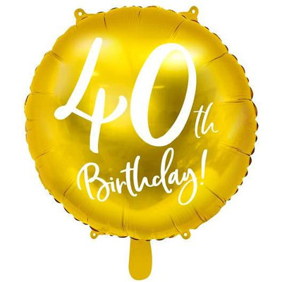Party Deco - 40th Birthday Gold Foil Balloon - FB24M-40-019- The Original Party Bag Company