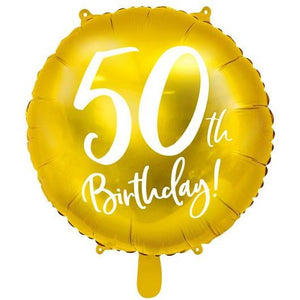 Party Deco - 50th Birthday Gold Foil Balloon - FB24M-50-019- The Original Party Bag Company