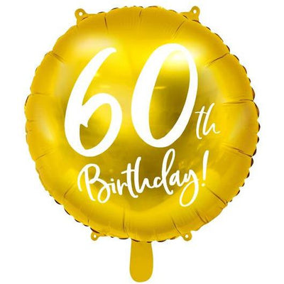 Party Deco - 60th Birthday Gold Foil Balloon - FB24M-60-019- The Original Party Bag Company