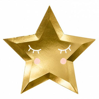 Party Deco - Golden Little Star Shaped Paper Plates (Pk6) - TPP38-019M- The Original Party Bag Company