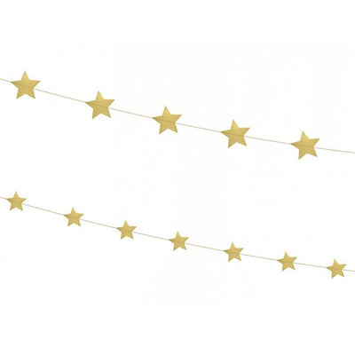Party Deco - Golden Star Garland - GLS6-019- The Original Party Bag Company