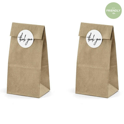 Party Deco - Kraft Thankyou Favor Bags (Pk6) - TNS3-031- The Original Party Bag Company
