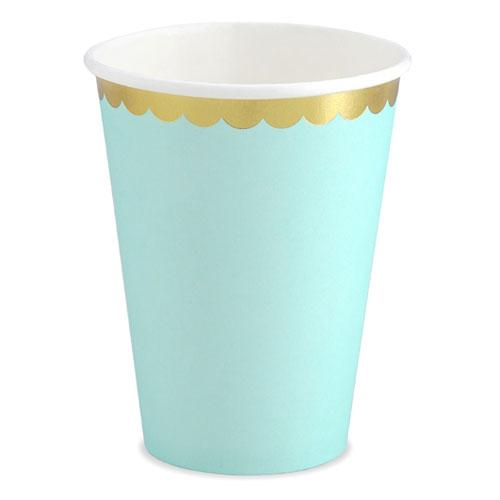 Party Deco - Mint & Gold Scalloped Paper Cups (Pk6) - KPP16-103- The Original Party Bag Company
