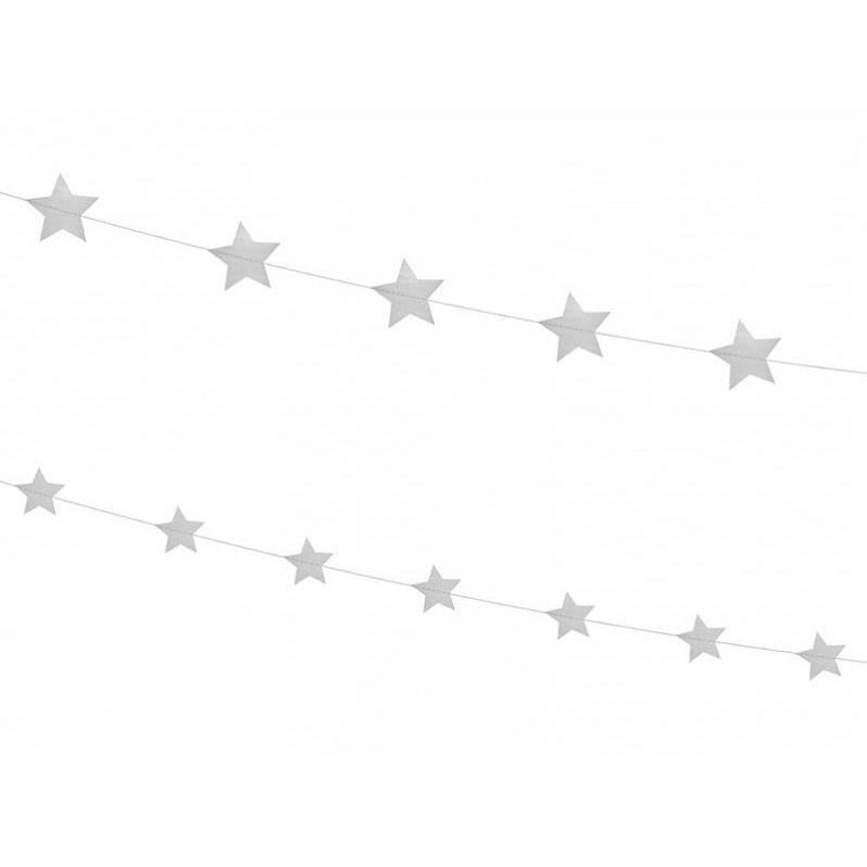 Party Deco - Silver Star Garland - gls6-018- The Original Party Bag Company