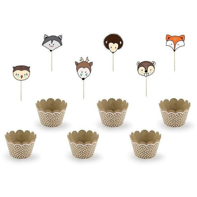 Party Deco - Woodland Cupcake Kit (Pk6) - ZFM1- The Original Party Bag Company