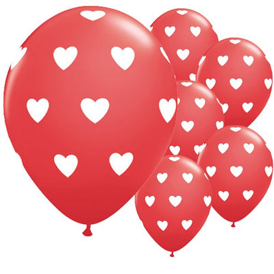 printed red heart balloons