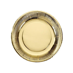 Talking Tables - Gold Metallic Paper Plates (Pk8) - met-g-plate-m- The Original Party Bag Company