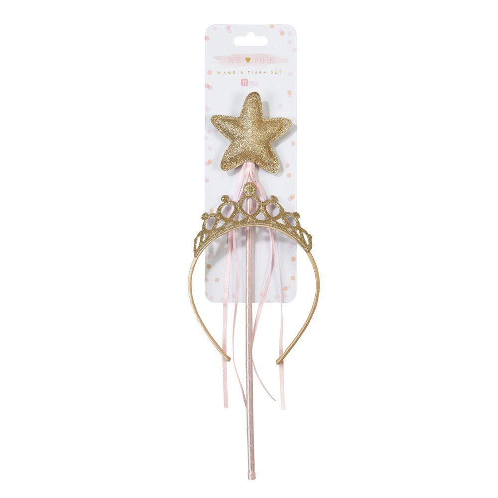Talking Tables - Gold Wand & Tiara - PINK-DRESSUP- The Original Party Bag Company