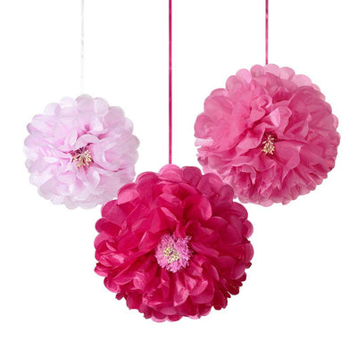 Talking Tables - Pink Flowers Pom Poms (Pk3) - DDGDN-POMFLOWER-PK- The Original Party Bag Company