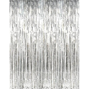 Talking Tables - Silver Party Backdrop - glit-curtainsil- The Original Party Bag Company