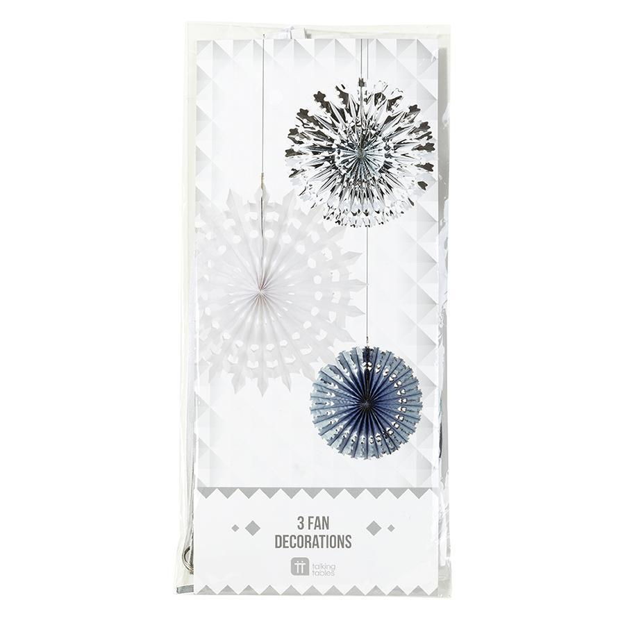 Talking Tables - Snowflake Fans (Pk3) - DD-FAN-ICE- The Original Party Bag Company