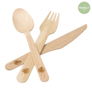 Talking Tables - Tropical Wooden Cutlery - FST6-CUTLERY-PALM- The Original Party Bag Company