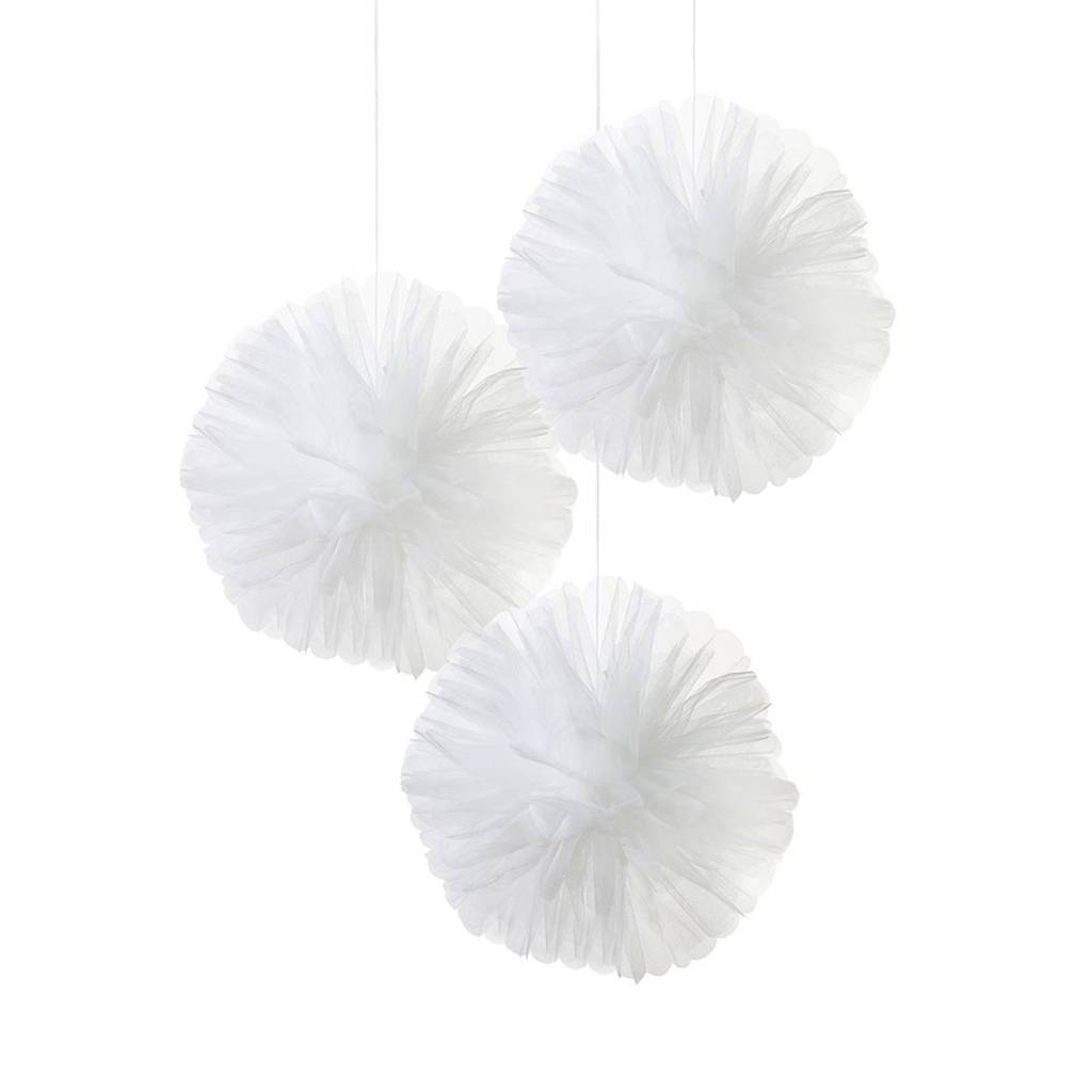 Talking Tables - White Tulle Pom Poms (Pk3) - WHT-TULLEPOMPOM- The Original Party Bag Company