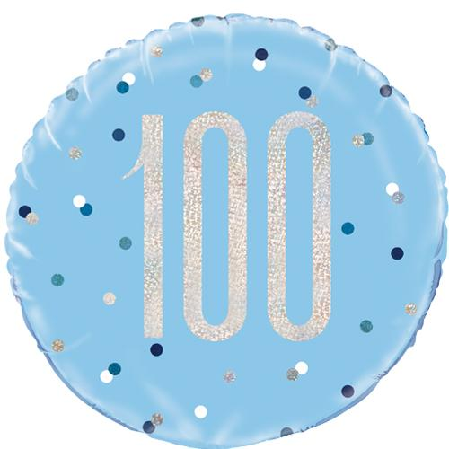 The Original Party Bag Company - 100th Birthday Blue & Silver Foil Balloon - 83365- The Original Party Bag Company