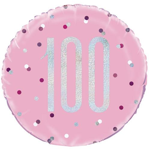 The Original Party Bag Company - 100th Birthday Pink & Silver Foil Balloon - 83378- The Original Party Bag Company
