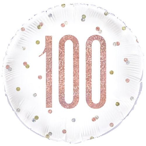 The Original Party Bag Company - 100th Birthday Rose Gold Foil Balloon - 84910- The Original Party Bag Company
