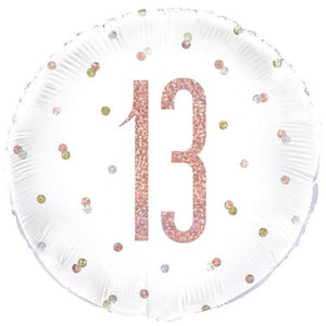 The Original Party Bag Company - 13th Birthday Rose Gold Foil Balloon - 84898- The Original Party Bag Company
