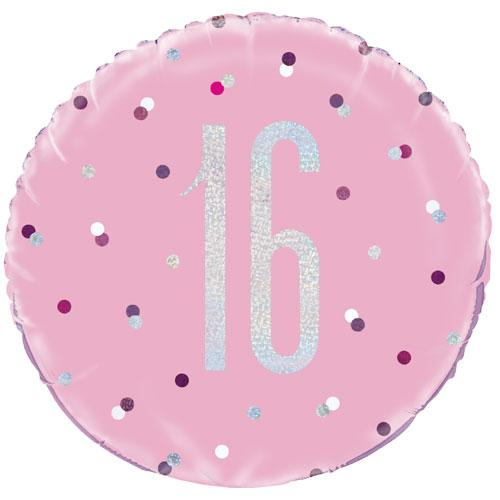 The Original Party Bag Company - 16th Birthday Pink & Silver Foil Balloon - 83368- The Original Party Bag Company