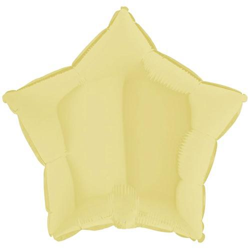 "The Original Party Bag Company - 18"" Chalk Pastel Yellow Star Balloon - 192M04Y- The Original Party Bag Company"