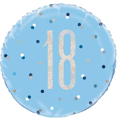 The Original Party Bag Company - 18th Birthday Blue & Silver Foil Balloon - 83356- The Original Party Bag Company