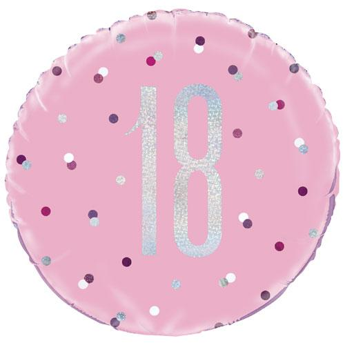 The Original Party Bag Company - 18th Birthday Pink & Silver Foil Balloon - 83369- The Original Party Bag Company