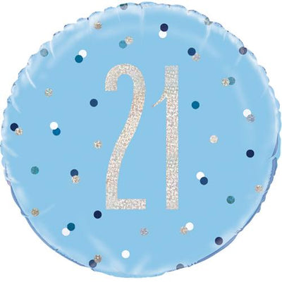 The Original Party Bag Company - 21st Birthday Blue & Silver Foil Balloon - 83357- The Original Party Bag Company