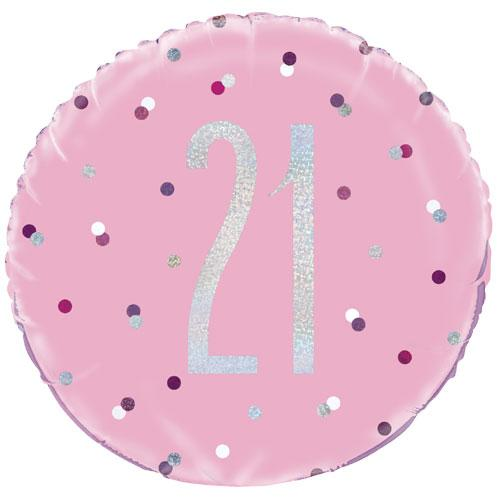 The Original Party Bag Company - 21st Birthday Pink & Silver Foil Balloon - 83370- The Original Party Bag Company