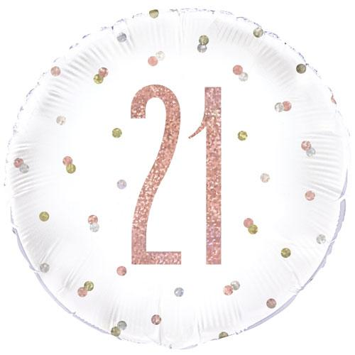 The Original Party Bag Company - 21st Birthday Rose Gold Foil Balloon - 84901- The Original Party Bag Company