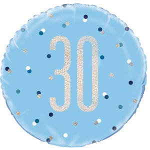 The Original Party Bag Company - 30th Birthday Blue & Silver Foil Balloon - 83358- The Original Party Bag Company