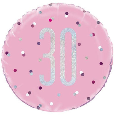 The Original Party Bag Company - 30th Birthday Pink & Silver Foil Balloon - 83371- The Original Party Bag Company