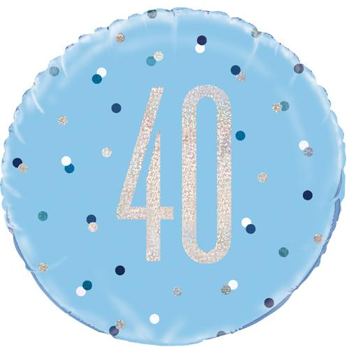 The Original Party Bag Company - 40th Birthday Blue & Silver Foil Balloon - 83359- The Original Party Bag Company