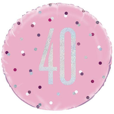 The Original Party Bag Company - 40th Birthday Pink & Silver Foil Balloon - 83372- The Original Party Bag Company