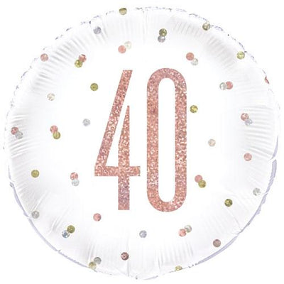 The Original Party Bag Company - 40th Birthday Rose Gold Foil Balloon - 84903- The Original Party Bag Company