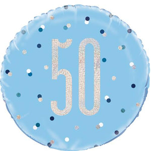 The Original Party Bag Company - 50th Birthday Blue & Silver Foil Balloon - 83360- The Original Party Bag Company