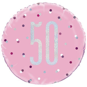 The Original Party Bag Company - 50th Birthday Pink & Silver Foil Balloon - 83373- The Original Party Bag Company