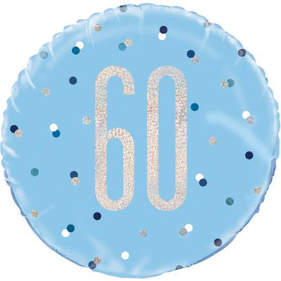 The Original Party Bag Company - 60th Birthday Blue & Silver Foil Balloon - 83361- The Original Party Bag Company