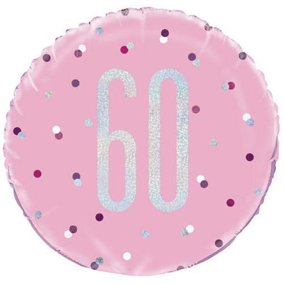 The Original Party Bag Company - 60th Birthday Pink & Silver Foil Balloon - 83374- The Original Party Bag Company