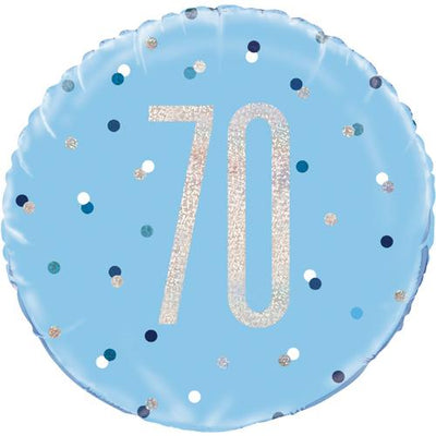The Original Party Bag Company - 70th Birthday Blue & Silver Foil Balloon - 83362- The Original Party Bag Company