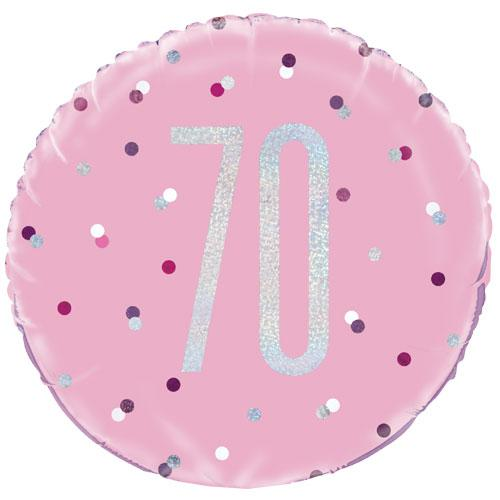 The Original Party Bag Company - 70th Birthday Pink & Silver Foil Balloon - 83375- The Original Party Bag Company