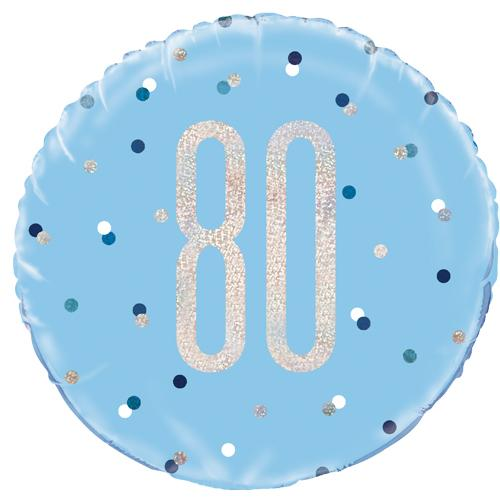 The Original Party Bag Company - 80th Birthday Blue & Silver Foil Balloon - 83363- The Original Party Bag Company