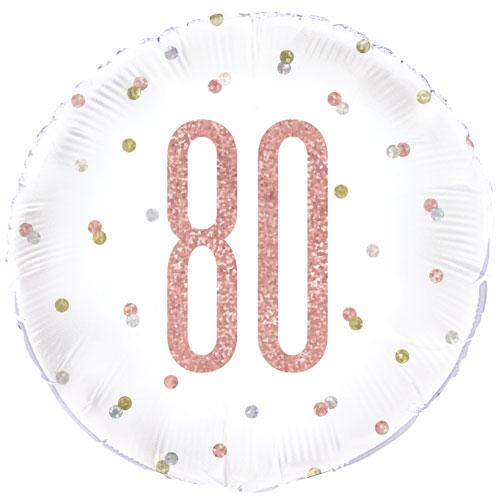 The Original Party Bag Company - 80th Birthday Rose Gold Foil Balloon - 84908- The Original Party Bag Company