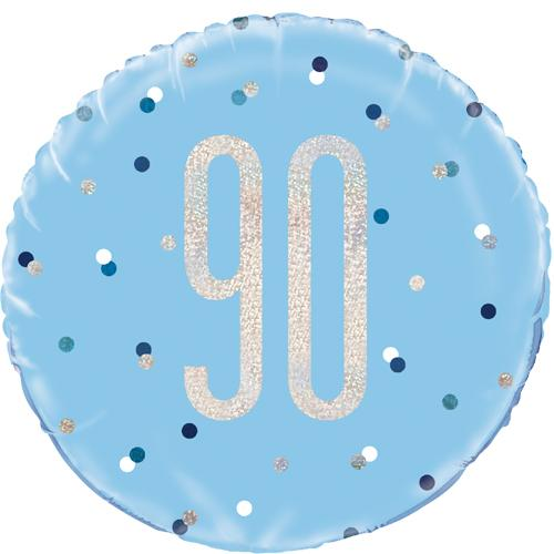 The Original Party Bag Company - 90th Birthday Blue & Silver Foil Balloon - 83364- The Original Party Bag Company