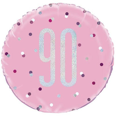 The Original Party Bag Company - 90th Birthday Pink & Silver Foil Balloon - 83377- The Original Party Bag Company