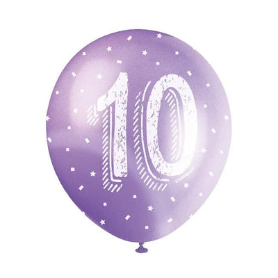 The Original Party Bag Company - Birthday Balloon 10 (Choose Your Colour) - balloon10pur- The Original Party Bag Company
