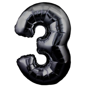 The Original Party Bag Company - Black Giant Number Balloons - giantblacknum3- The Original Party Bag Company