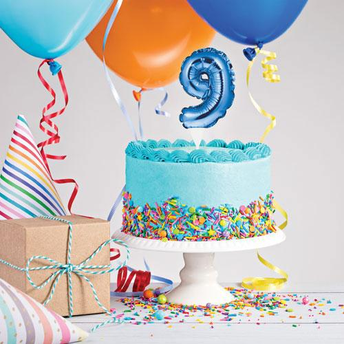 The Original Party Bag Company - Blue Balloon Number Cake Topper - - The Original Party Bag Company