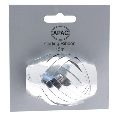 The Original Party Bag Company - Curling Ribbon Metallic Silver 15m - 118745- The Original Party Bag Company