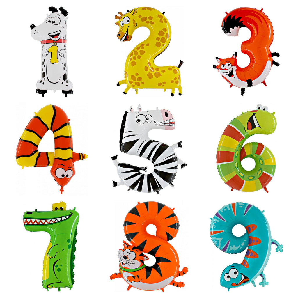 The Original Party Bag Company - Giant Animal Number Balloons - - The Original Party Bag Company