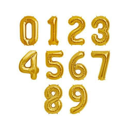 The Original Party Bag Company - Gold Air Fill Number Balloons - - The Original Party Bag Company